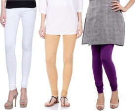 Sampoorna Collection Women's White, Beige, Purple Leggings Pack Of 3