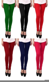 Escocer Women's Black, Blue, Green, Maroon, Red, Pink Leggings Pack Of 6