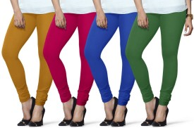Lux Lyra Women's Yellow, Pink, Light Blue, Dark Green Leggings Pack Of 4