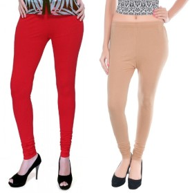 Colors More Women's Red, Beige Leggings Pack Of 2