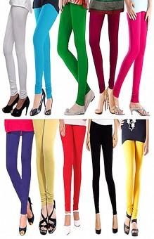 MAGRACE Women's Multicolor, Black, Yellow, Light Blue, Blue, Pink, Green, Purple, Beige, Purple, White Leggings Pack Of 10