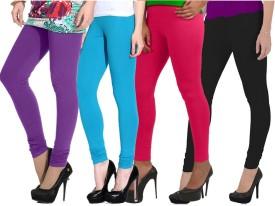 Ngt Women's Purple, Black, Light Blue, Pink Leggings Pack Of 4