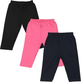 Color Fly Baby Girl's Black, Pink, Dark Blue Leggings Pack Of 3