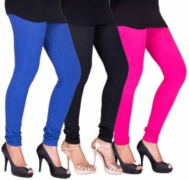 Fashion Flow+ Women's Black, Blue, Pink Leggings Pack Of 3