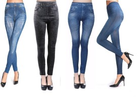Shopethnic Women's Blue, Black, Blue, Light Blue Jeggings Pack Of 4