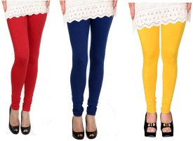 Raro Women's Red, Blue, Yellow Leggings Pack Of 3
