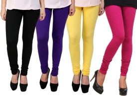 Dharamanjali Women's Black, Pink, Purple, Yellow Leggings Pack Of 4