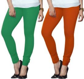 Lux Lyra Women's Green, Orange Leggings Pack Of 2