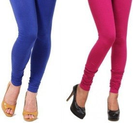 Scorpio Fashions Women's Blue, Pink Leggings Pack Of 2