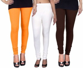 C&S Shopping Gallery Women's Yellow, White, Brown Leggings Pack Of 3