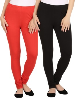 New Tastemaker Women's Red, Black Leggings Pack Of 2