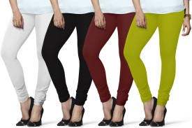 Lux Lyra Women's White, Black, Maroon, Light Green Leggings Pack Of 4