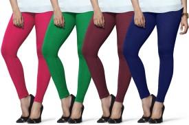 Lux Lyra Women's Pink, Dark Green, Purple, Dark Blue Leggings Pack Of 4
