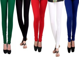 Vastra Buzz Women's Red, White, Black, Green, Dark Blue Leggings Pack Of 5