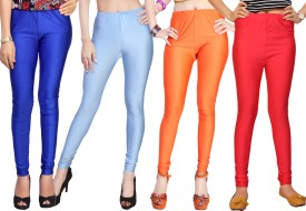 Comix Women's Blue, Light Blue, Orange, Red Leggings Pack Of 4