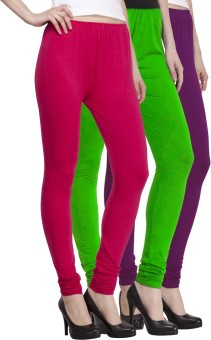VENUSTAS Women's Light Green, Purple, Silver Leggings Pack Of 3