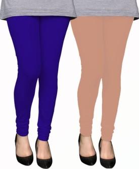 PAMO Women's Blue, Beige Leggings Pack Of 2