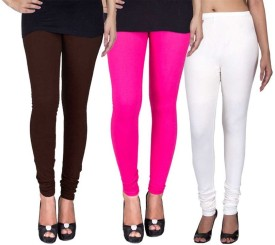 C&S Shopping Gallery Women's Brown, Pink, White Leggings Pack Of 3