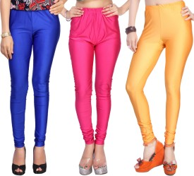 Comix Women's Blue, Pink, Orange Leggings Pack Of 3
