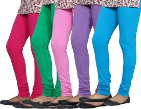 IndiStar Women's Pink, Green, Pink, Purple, Blue Leggings Pack Of 5