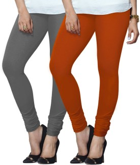 Lux Lyra Women's Grey, Orange Leggings Pack Of 2