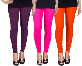 C&S Shopping Gallery Women's Purple, Pink, Orange Leggings Pack Of 3
