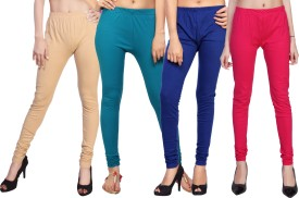 Comix Women's Beige, Dark Blue, Dark Blue, Pink Leggings Pack Of 4