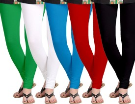 Aannie Women's Green, White, Blue, Red, Black Leggings Pack Of 5