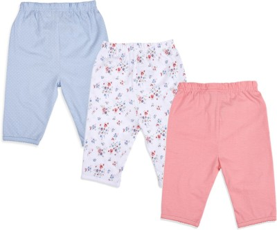 Mothercare Baby Girl's White, Blue, Pink Leggings (Pack Of 3)