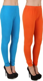 Stylishbae Women's Blue, Orange Leggings Pack Of 2