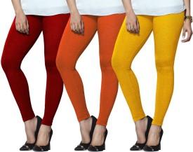 Lux Lyra Women's Red, Orange, Yellow Leggings Pack Of 3
