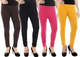 Paulzi Women's Brown, Black, Pink, Yellow Leggings Pack Of 4