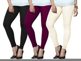 Lux Lyra Women's Black, Purple, Beige Leggings Pack Of 3