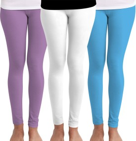 Huetrap Women's Purple, White, Blue Leggings Pack Of 3