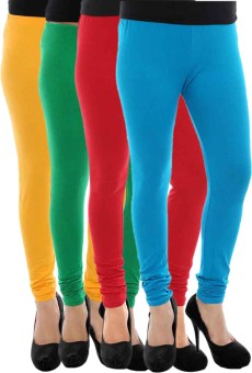 Paulzi Women's Yellow, Green, Red, Blue Leggings Pack Of 4