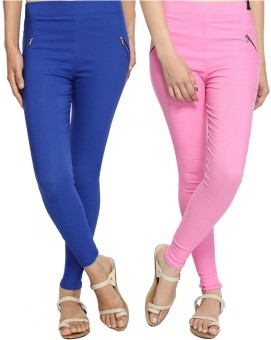 StyloFashionGarments Women's Blue, Pink Jeggings Pack Of 2