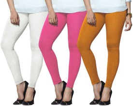 Lux Lyra Women's White, Pink, Yellow Leggings Pack Of 3