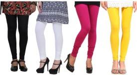 CP Bigbasket Women's Black, White, Pink, Yellow Leggings Pack Of 4