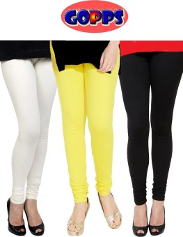 Gopps Women's White, Yellow, Black Leggings Pack Of 3