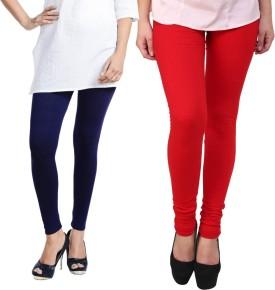Escocer Women's Blue, Red Leggings Pack Of 2