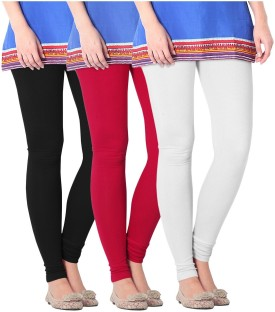 Nice Fit Women's Black, White, Red Leggings Pack Of 3