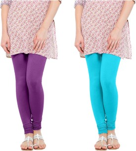 Oh Fish Women's Purple, Light Blue Leggings Pack Of 2