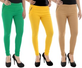 Paulzi Women's Green, Yellow, Beige Jeggings Pack Of 3