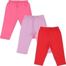 Color Fly Baby Girl's Pink, Purple, Dark Blue Leggings Pack Of 3