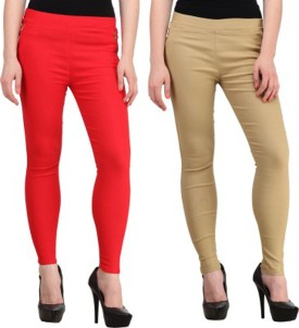 Roma Creation Women's Red, Beige Jeggings Pack Of 2