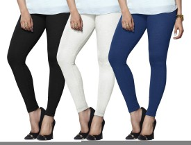 Lux Lyra Women's Black, White, Light Blue Leggings Pack Of 3