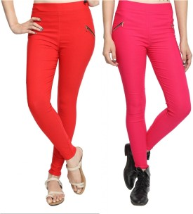 StyloFashionGarments Women's Red, Pink Jeggings Pack Of 2