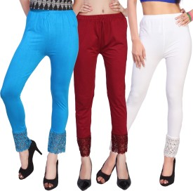 Comix Women's Light Blue, Maroon, White Leggings Pack Of 3