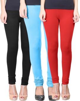 Eshelle Women's Black, Light Blue, Red Leggings Pack Of 3