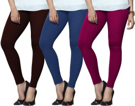 Lux Lyra Women's Maroon, Light Blue, Pink Leggings Pack Of 3